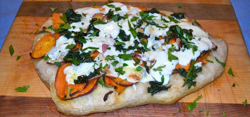 Autumn Pizza With Roasted Sweet Potatoes, Kale & Mozzarella