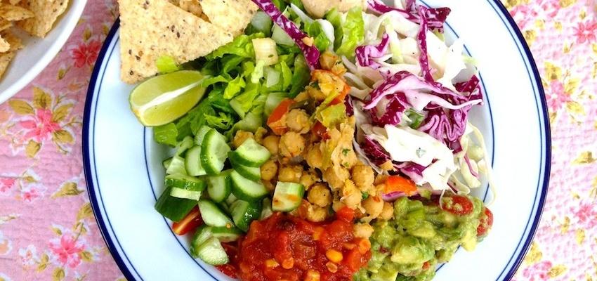 Vegan Taco Salad Bowls With Smokey Cashew Cream - mindbodygreen.com